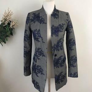 Zara Plaid Floral Jacket Blazer